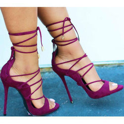 Straps Ankle Wraps Open Toe Back Zipper Stiletto High Heels Sandals