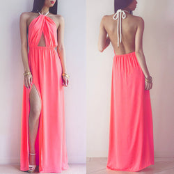 Hollow Out Halter Pink Backless Split Long Maxi Beach Dress - O Yours Fashion - 1