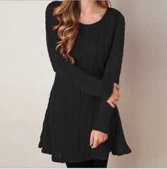 Knitting Round Neck Long Sleeve Sweater with Plus Size