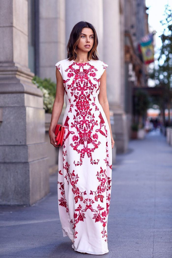 Scoop Print Sleeveless Slim Dress Long Dress - Oh Yours Fashion - 2