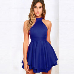 Backless Pure Color Bowknot Halter Short Dress