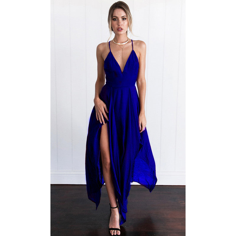 Spaghetti Straps Deep V neck Back Cross Irregular Chiffon Dress