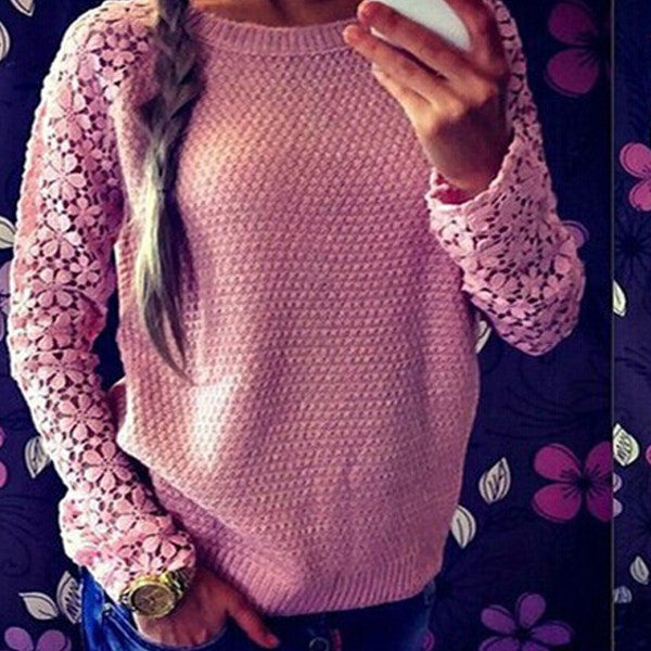 Hollow Out Lace Sleeves Splice Sweater - O Yours Fashion - 1
