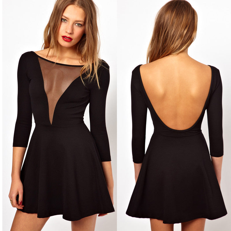 Backless Deep V Neck Club Short Dress - O Yours Fashion - 1
