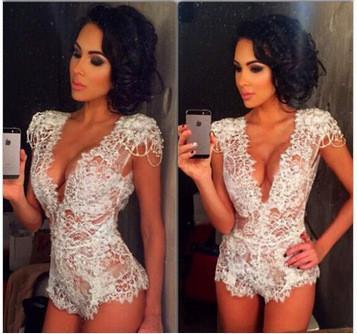Sexy See Through Halter White Lace Triangle Jumpsuit