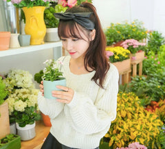 Cable Knit High-waist Loose Short Pullover Sweater