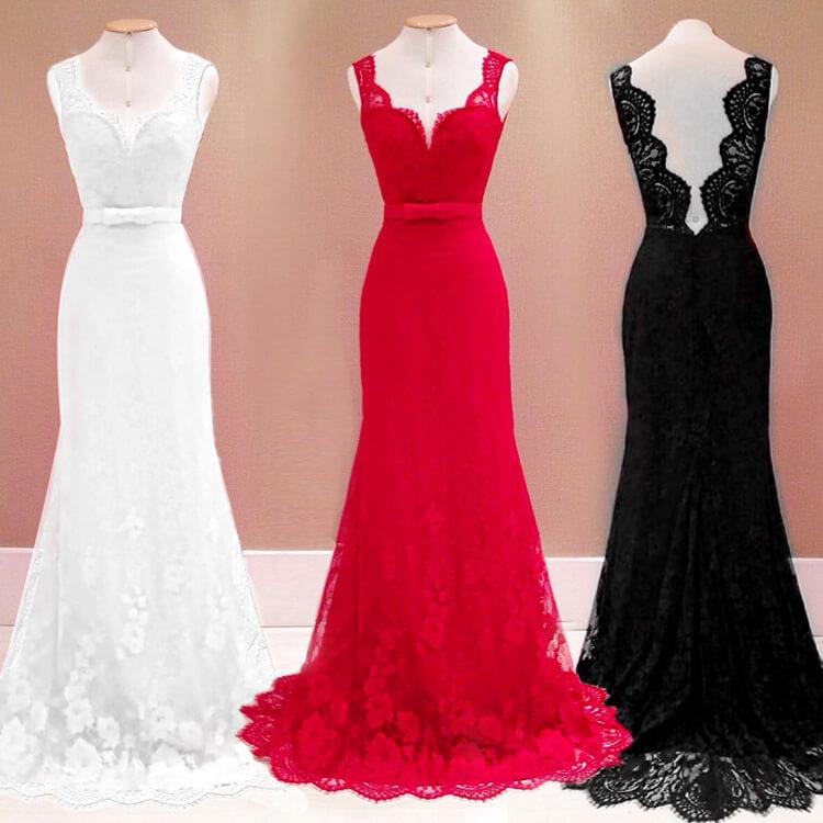 Pure Color V-neck Backless Lace Long Dress