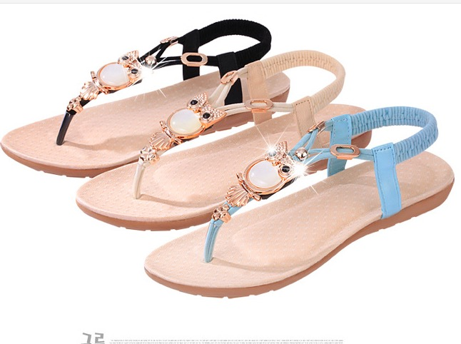 Gemstone Beads Comfortable TPR Thong Sandals