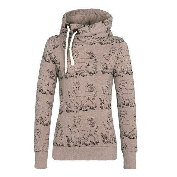 Deer Print Drawstring Womens Hoodie Sweatshirt - O Yours Fashion - 1