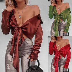 BowKnot Strap Wrap V-neck Long Lantern Sleeves Crop Top
