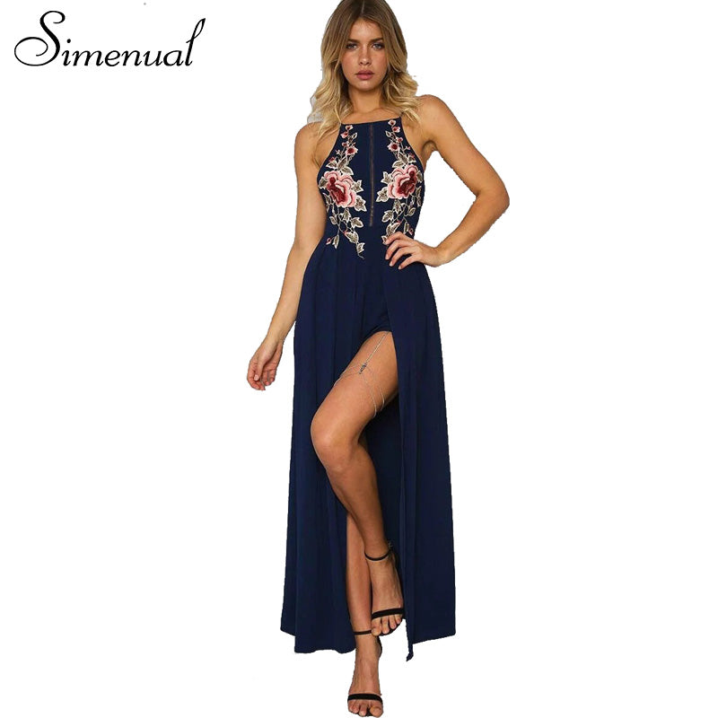 55aa5331fd16 Floral Embroidered Halter Neck Maxi Dress Featuring Criss-Cross Open Back
