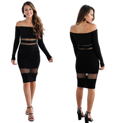 Slim Off Shoulder Long Sleeve Short Dress