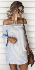 2017 Women Pullover Mosaic Striped Back Hollow Off Shoulder Mini Dress