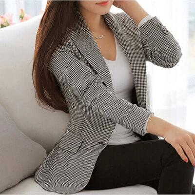 Lattice Pockets Lapel Slim Women Blazer