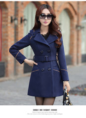 Slim Long Sleeves Button Wool Length Belt Coat