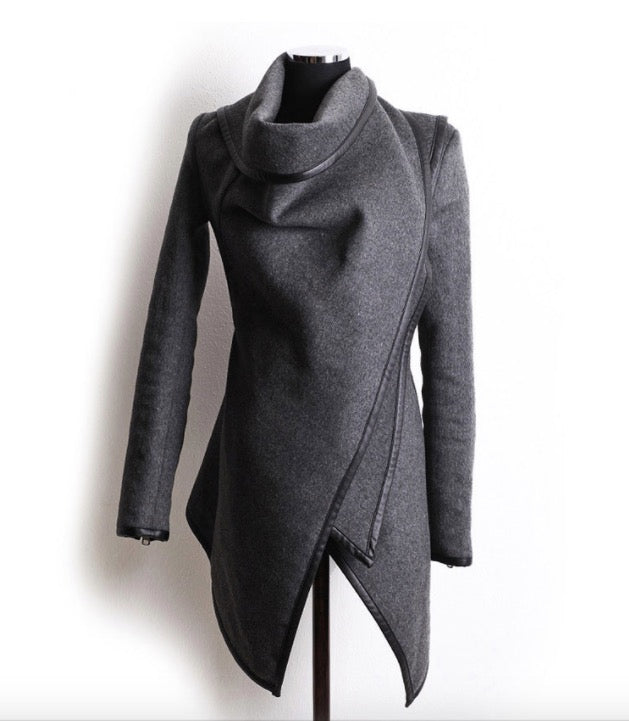 Long Irregular Thickening Woolen Overcoat