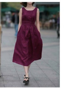 Fashion Cotton Linen Sleeveless Long Dress With Belt on