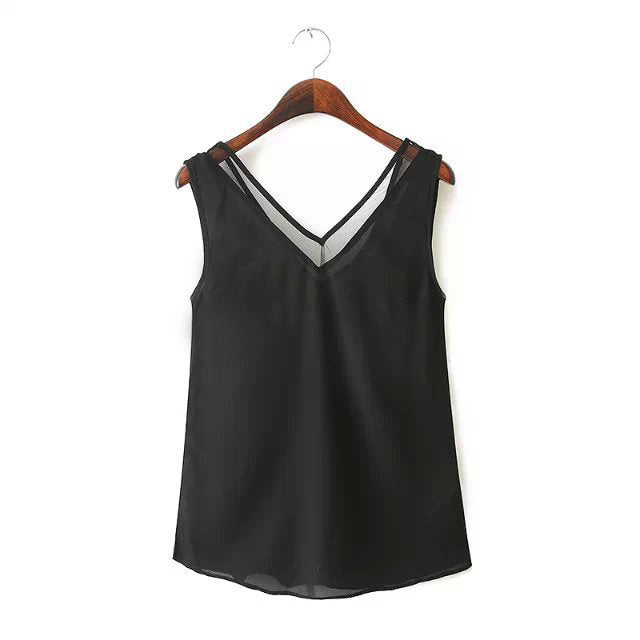 V-neck Sleeveless Gauze Patchwork Chiffon Sexy Blouse