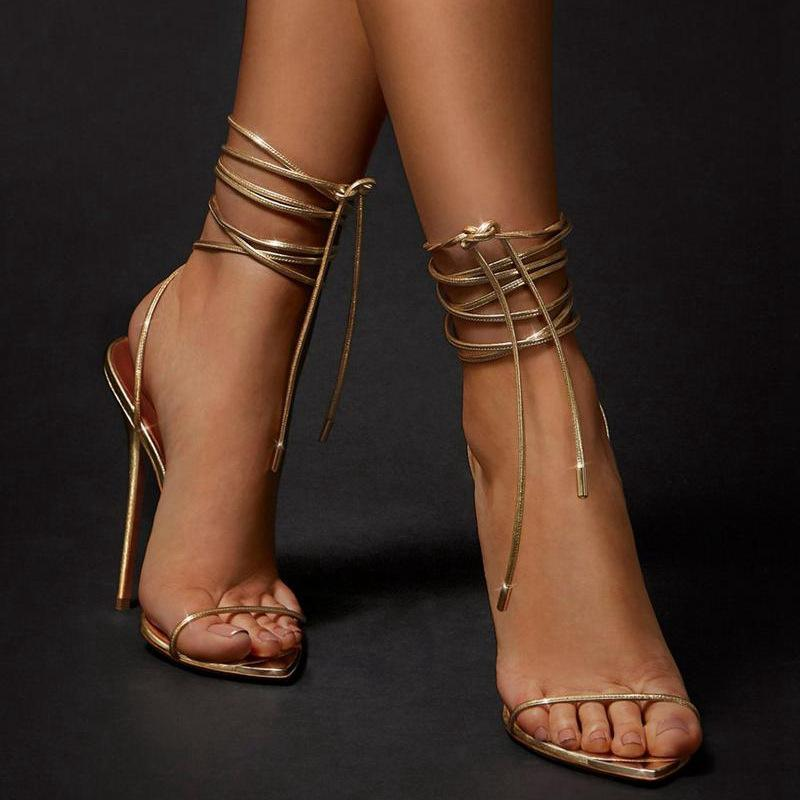 Golden Bandage Cool Boots Woman Heels Sandals