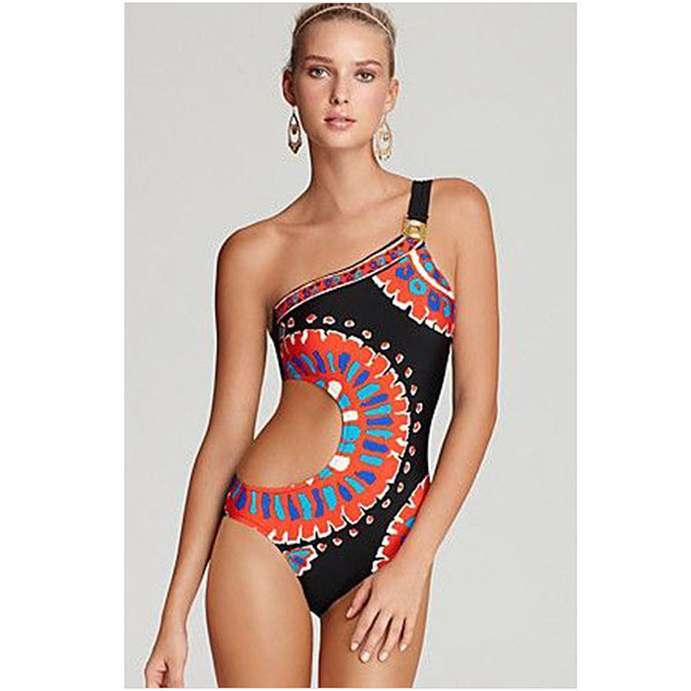 Printed One-Shoulder One-Piece Swimwear Featuring Cutout Detailing