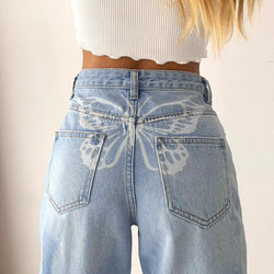 Butterfly Print Solid High Waist Straight Jeans Pants