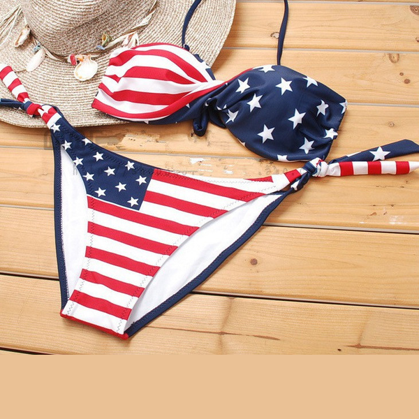 Fashion  Flag Bikini Swimwear with Detachable Strap