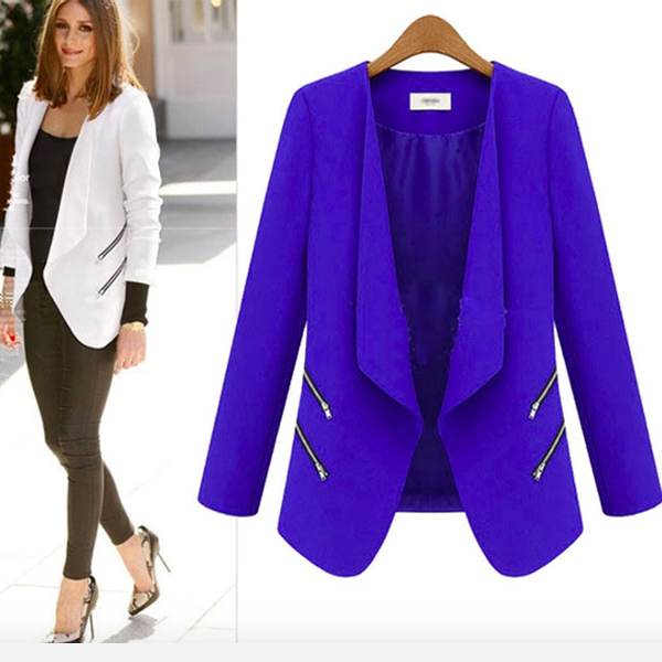 Fashion Zipper Long Sleeves Slim Short Plus Size Blazer Coat