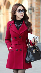 Slim Long Sleeves Button Wool Length Belt Coat - Oh Yours Fashion - 2