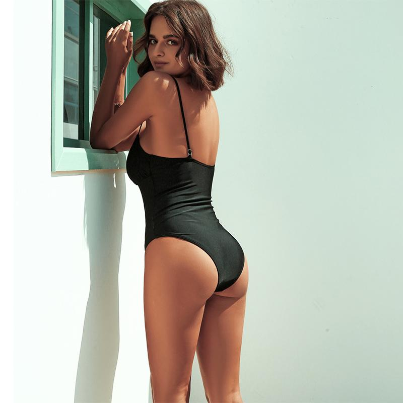 Sexy Black Low Back High Cut Swimsuit