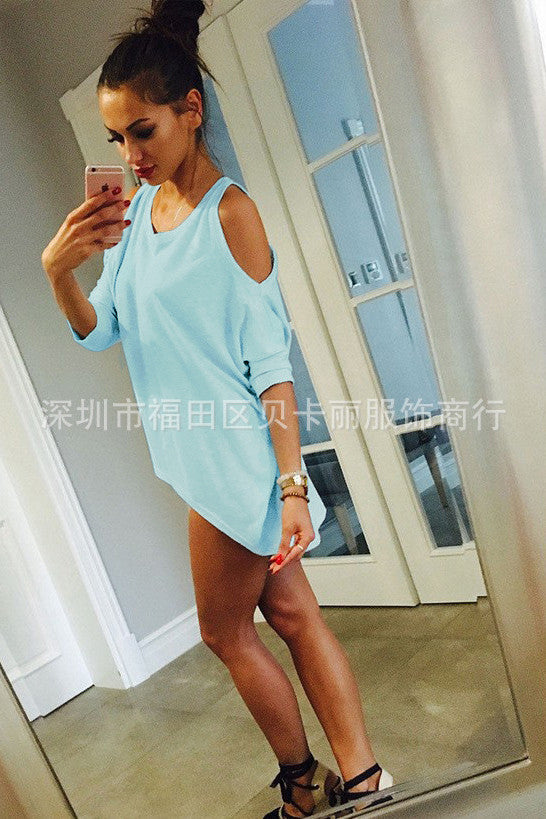 Bear Shoulder V-neck Low High Irregular Long Blouse