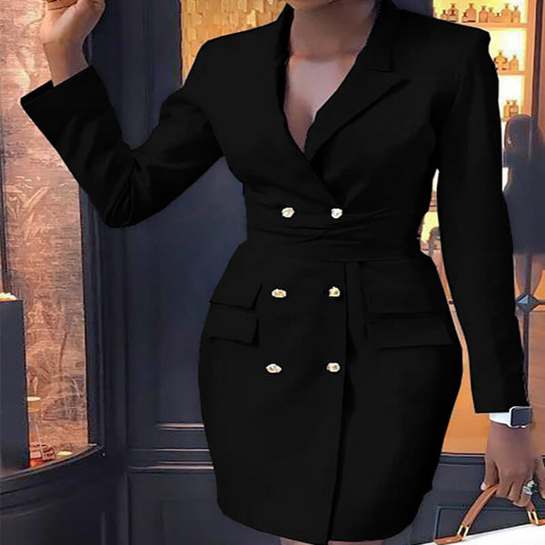 Long Sleeve Wrap Pocket Bodycon Blazer Dress