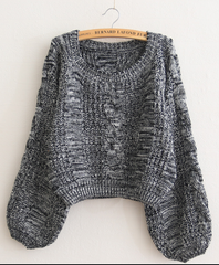 Cable Sleeve Coarse Yam Pure Color Pullover Sweater - Oh Yours Fashion - 8