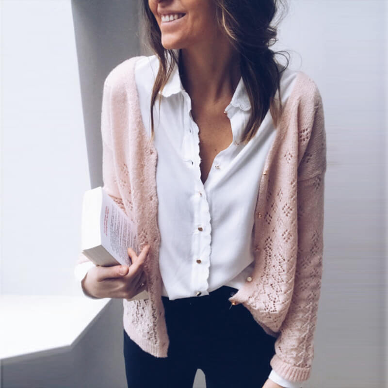 V-neck Hollowed Pure Color Cardigan Sweater