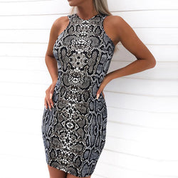 Snake Print Sleeveless Bodycon Dress