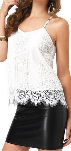 Spaghetti Strap V-neck Sleeveless Eyelash Lace Vest - Oh Yours Fashion - 2