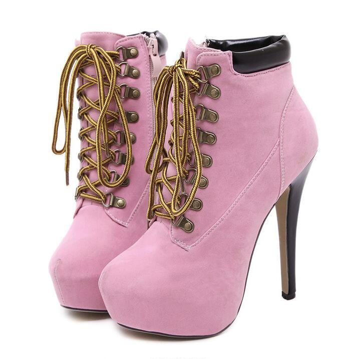 Stiletto Heel Cross Lace Up Short Martin Boots