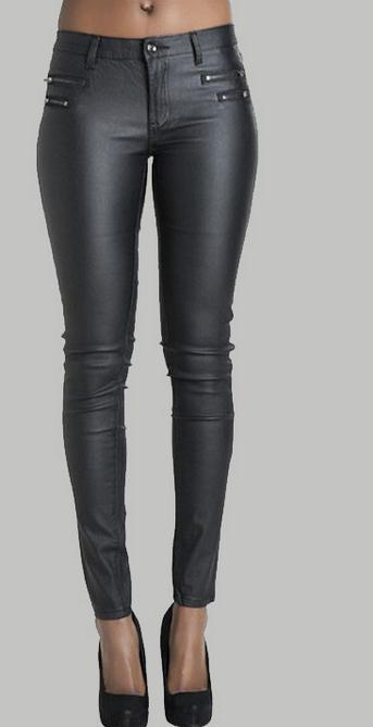 Low Waist Double Zipper Button Slim PU Leather Pants - Meet Yours Fashion - 2