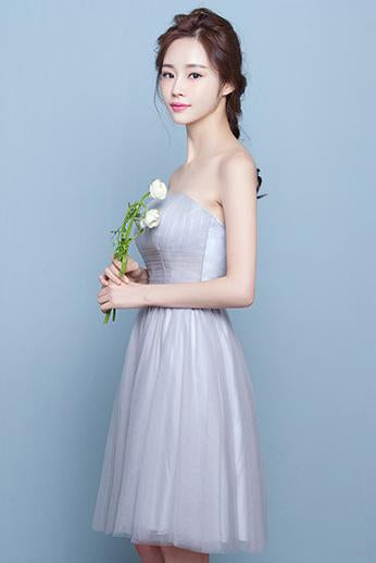 Strapless Sleeveless Pleated High Waist Short Party Bridesmaid Dress