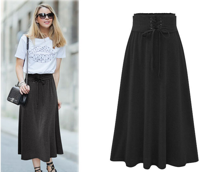 Lace Up Elastic Solid Pleated Long Skirt - Oh Yours Fashion - 5