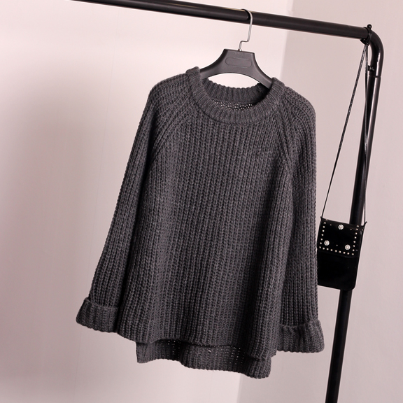 Korean Style Loose Spiit Knit Pullover Solid Color Sweater - Oh Yours Fashion - 3
