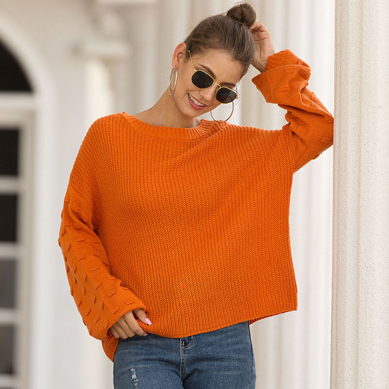 Balloon Sleeve Loose Casual Pullover Sweater