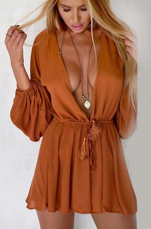 Long Sleeves  Deep V-neck Loose Casual Short Jumpsuit - Meet Yours Fashion - 2