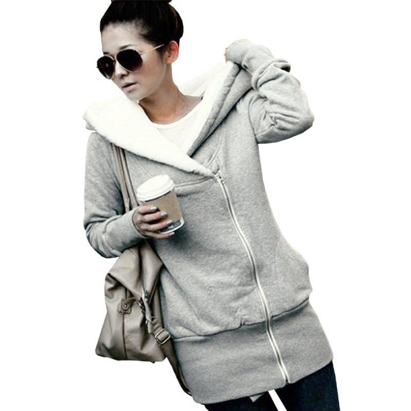Korean Women Zip Fleece Warm Hoodie - O Yours Fashion - 4