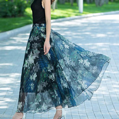 Floral Print High Waist Bohemian Chiffon Long Swing Beach Skirt