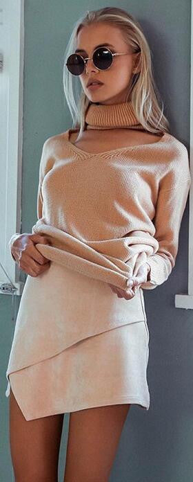 Loose Turtle Neck Hollow Out V Neck Pure Color Sweater - Oh Yours Fashion - 2