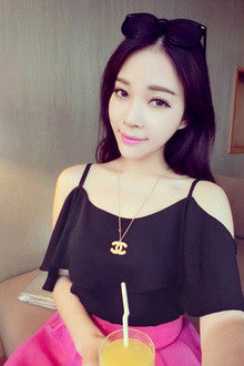 Hollow Shoulder Chiffon Batwing Sleeve Blouse - O Yours Fashion - 6