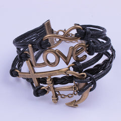 Cross Anchor Black Rope Woven Bracelet - Oh Yours Fashion - 3