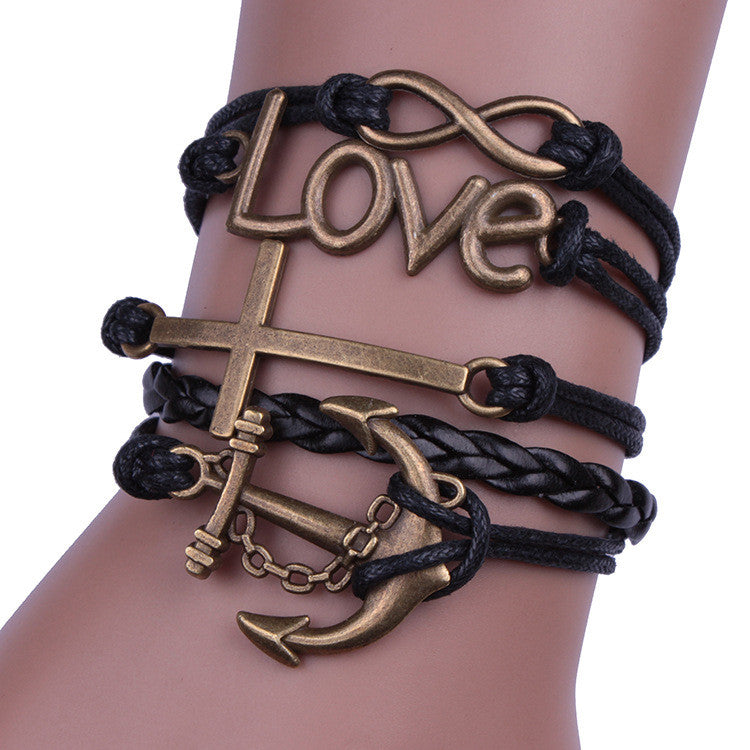 Cross Anchor Black Rope Woven Bracelet - Oh Yours Fashion - 1