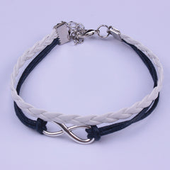 Simple Fashion Black White Hand-made Leather Cord Bracelet - Oh Yours Fashion - 2