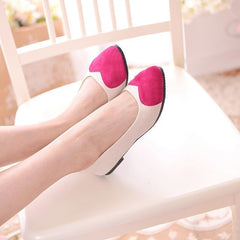 Sweet Heart Patchwork Low Cut Flat Shoes - Oh Yours Fashion - 2
